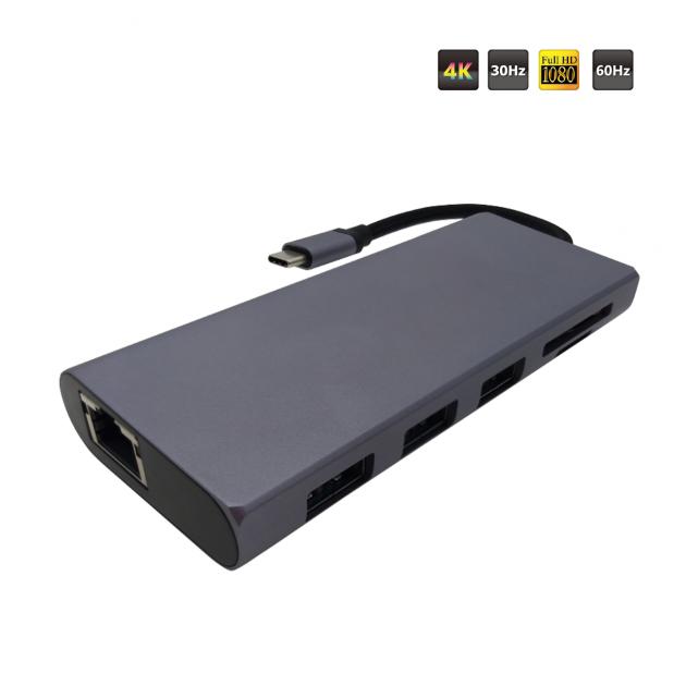 TYPE C to HDMI + VGA + USB 3.1 AFx3 + LAN + SD/Micro SD Converter(PD)(Simultaneous) 1