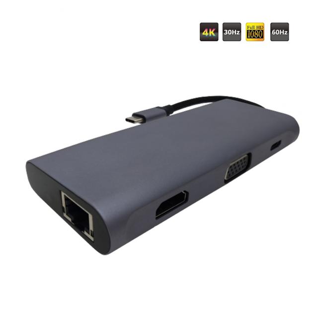 TYPE C to HDMI + VGA + USB 3.1 AFx3 + LAN + SD/Micro SD Converter(PD)(Simultaneous) 2